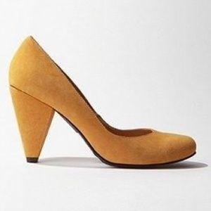 Yellow chunky heels